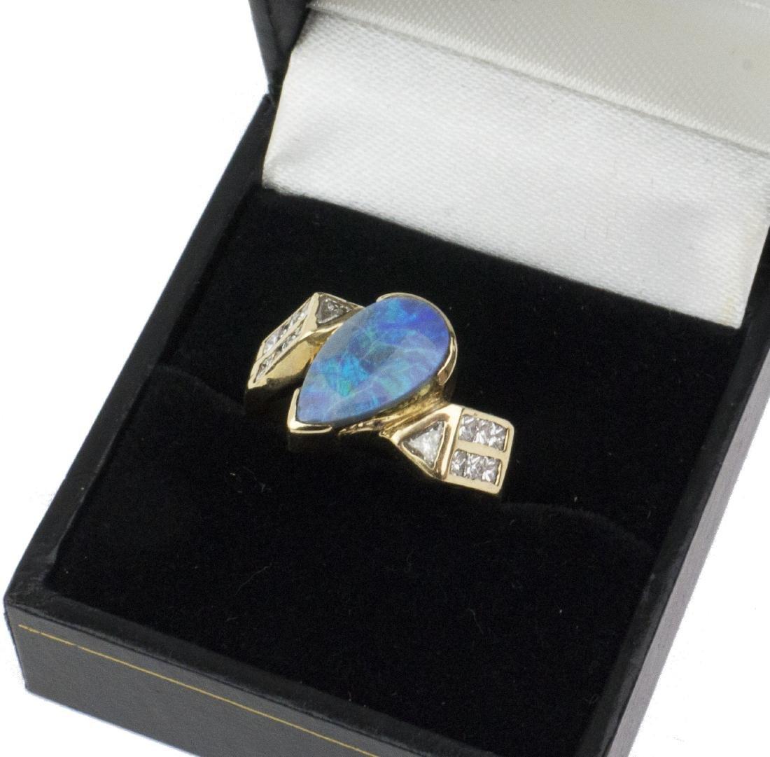 14K Yellow Gold Austrian Opal Diamond Ring - 7