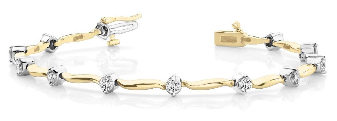1 1/2 ct tw Diamond 14K W/Y/R Gold  Bracelet 12.3gm - 2
