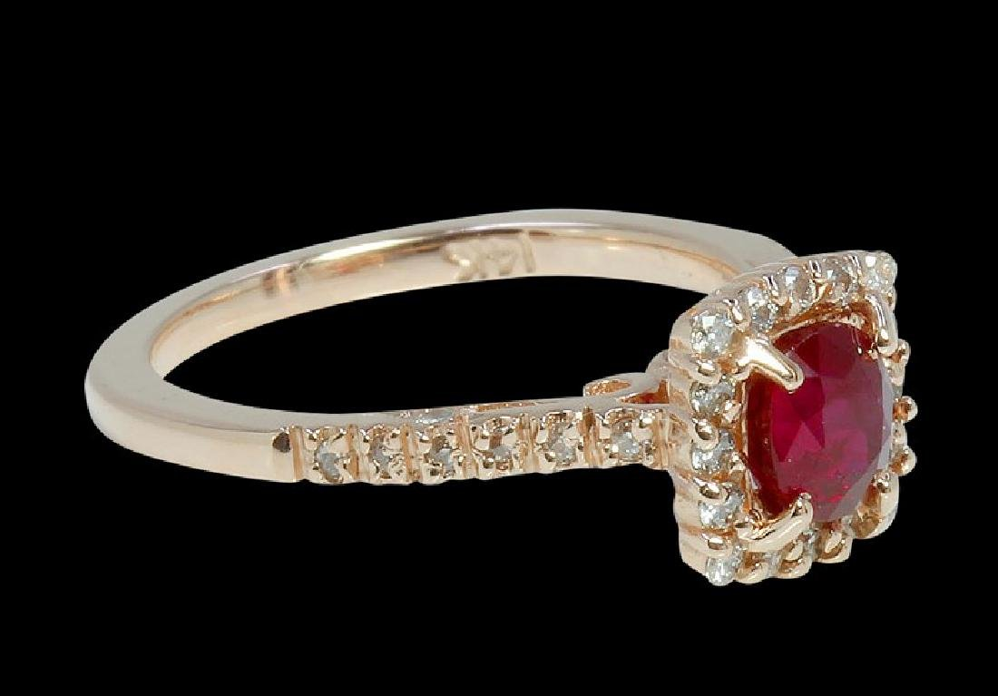 0.99ct Ruby 14K Rose Gold Ring - 2