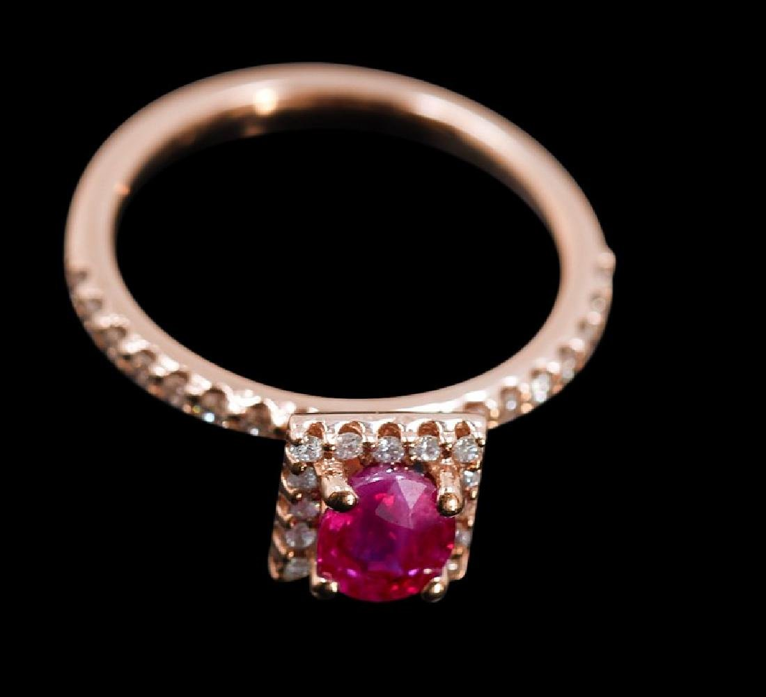 0.99ct Ruby 14K Rose Gold Ring - 3