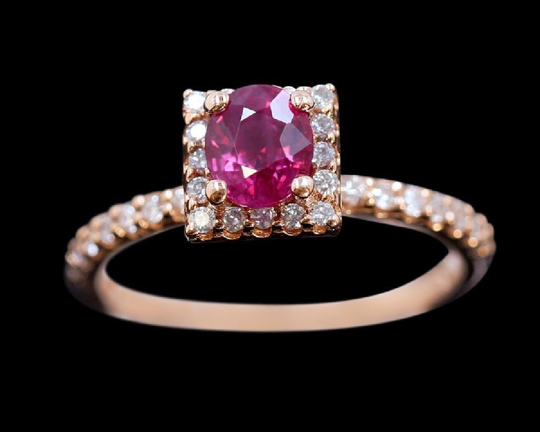 0.99ct Ruby 14K Rose Gold Ring - 4