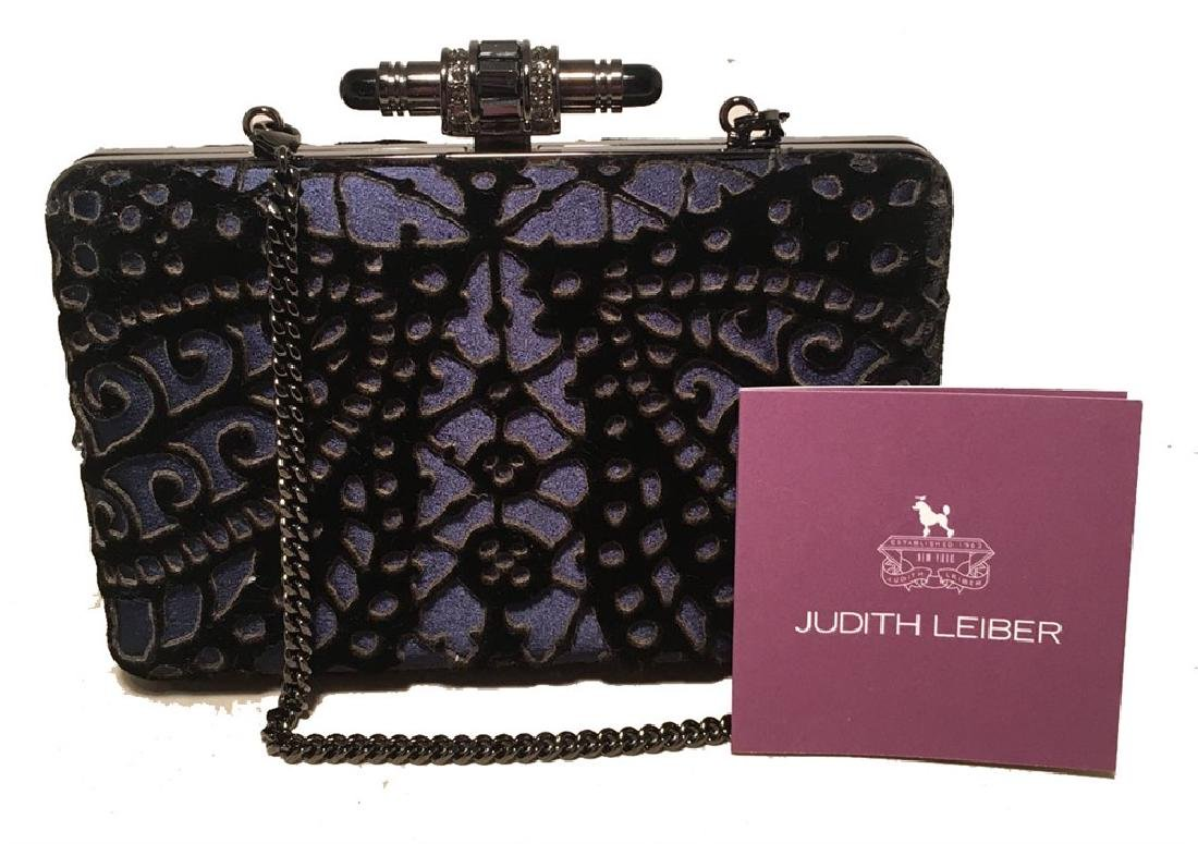 Judith Leiber Navy Blue Black Velvet Cut Out Evening - 4