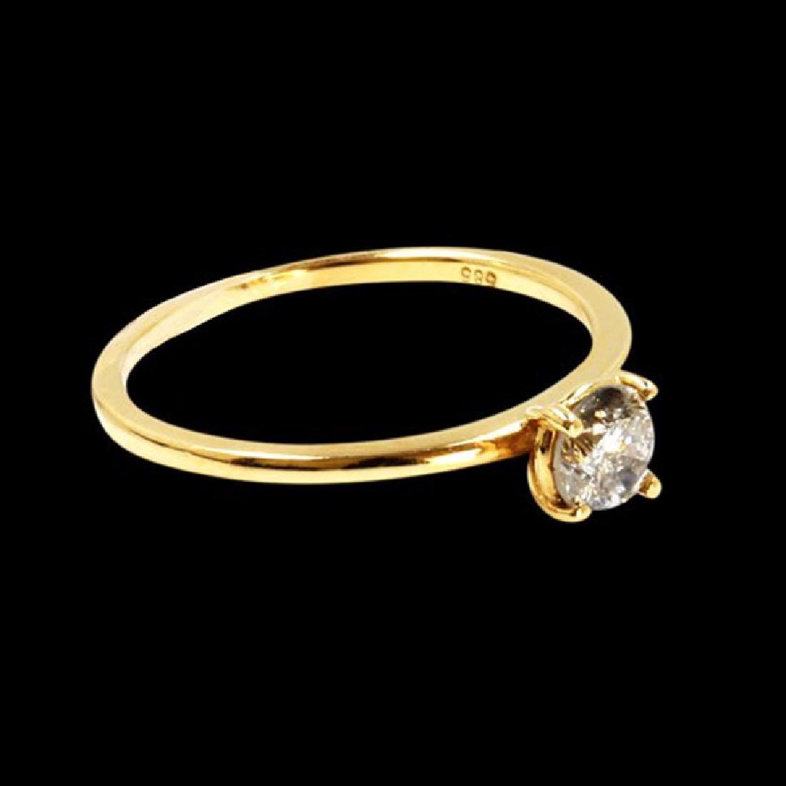 0.48CT NATURAL DIAMOND 14K YELLOW GOLD RING - 2
