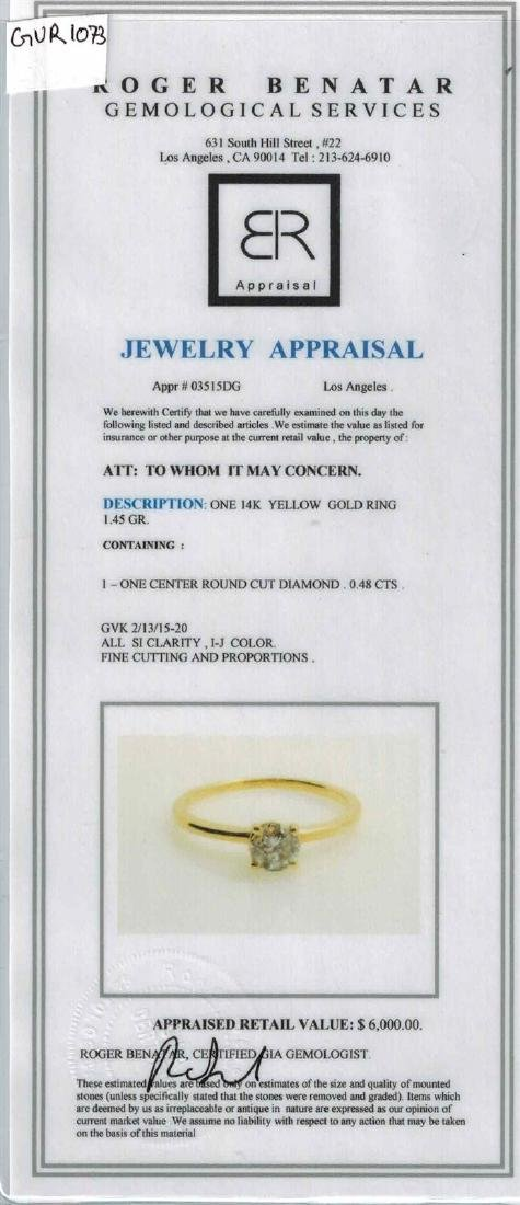 0.48CT NATURAL DIAMOND 14K YELLOW GOLD RING - 3