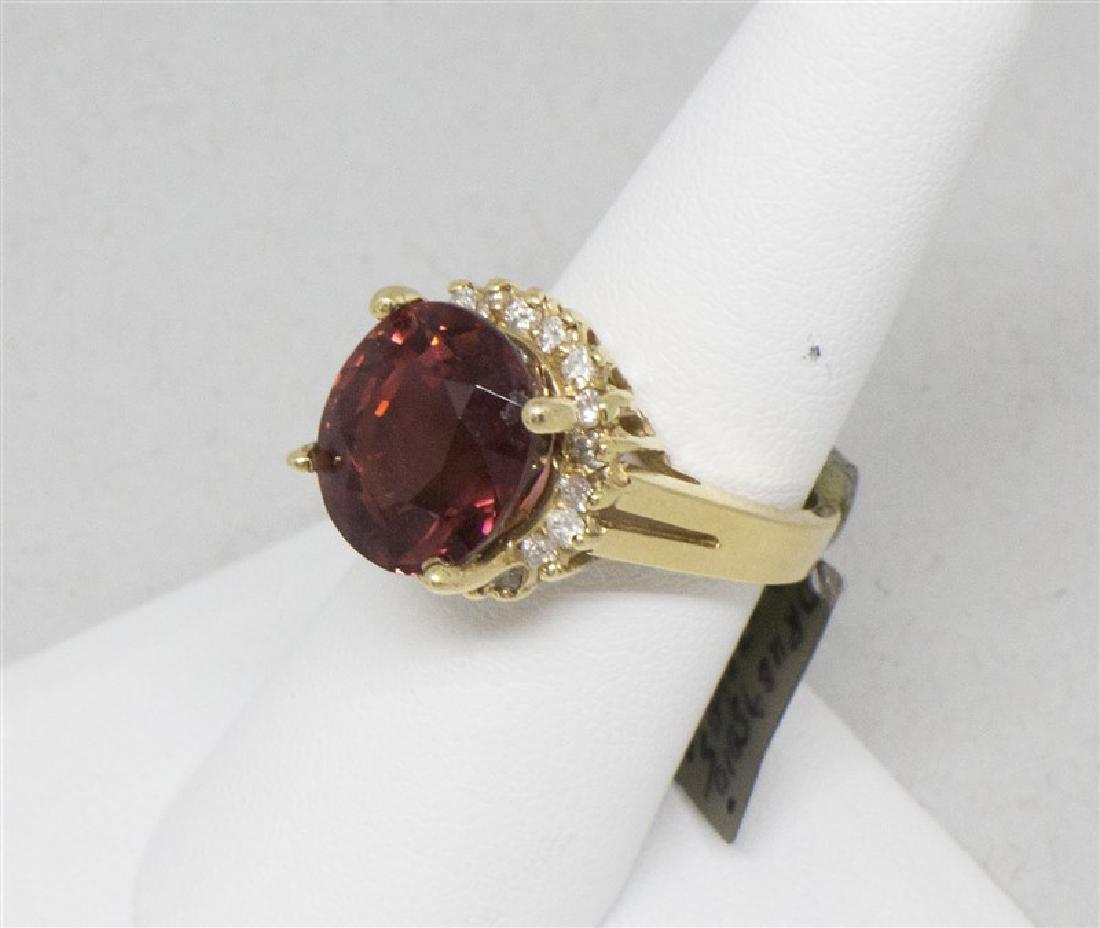 Red Rubelite & diamond 14k Yellow Ring - 2