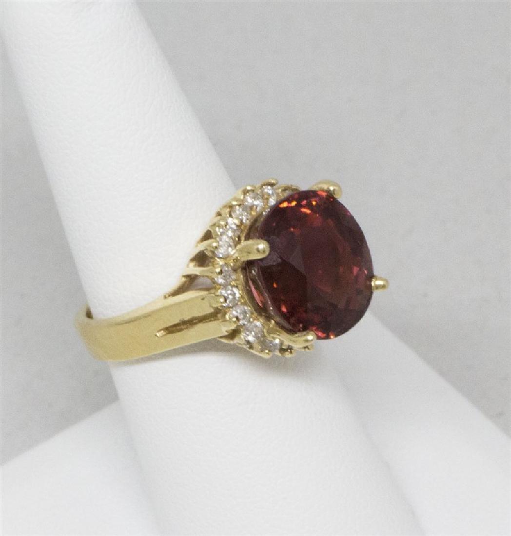 Red Rubelite & diamond 14k Yellow Ring - 3