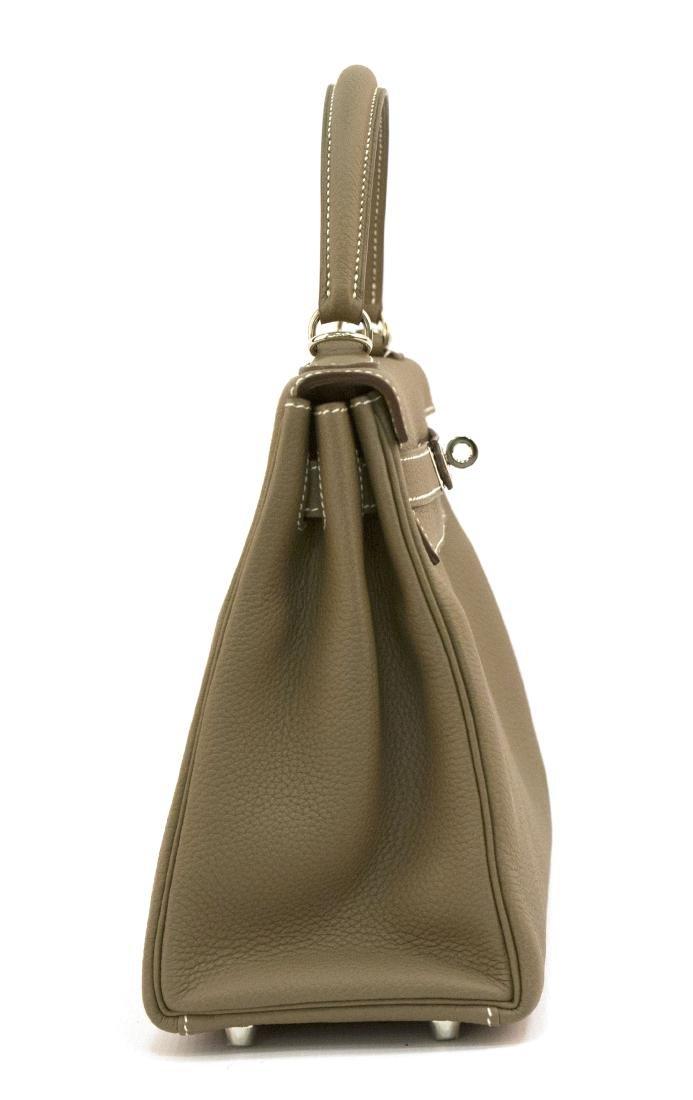 Hermes Kelly bag 28 Retourne Etoupe grey Clemence - 2