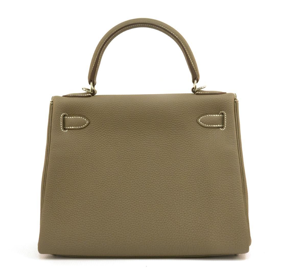 Hermes Kelly bag 28 Retourne Etoupe grey Clemence - 3