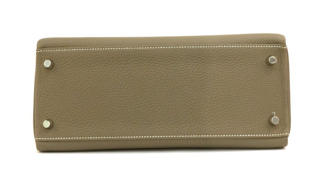 Hermes Kelly bag 28 Retourne Etoupe grey Clemence - 4
