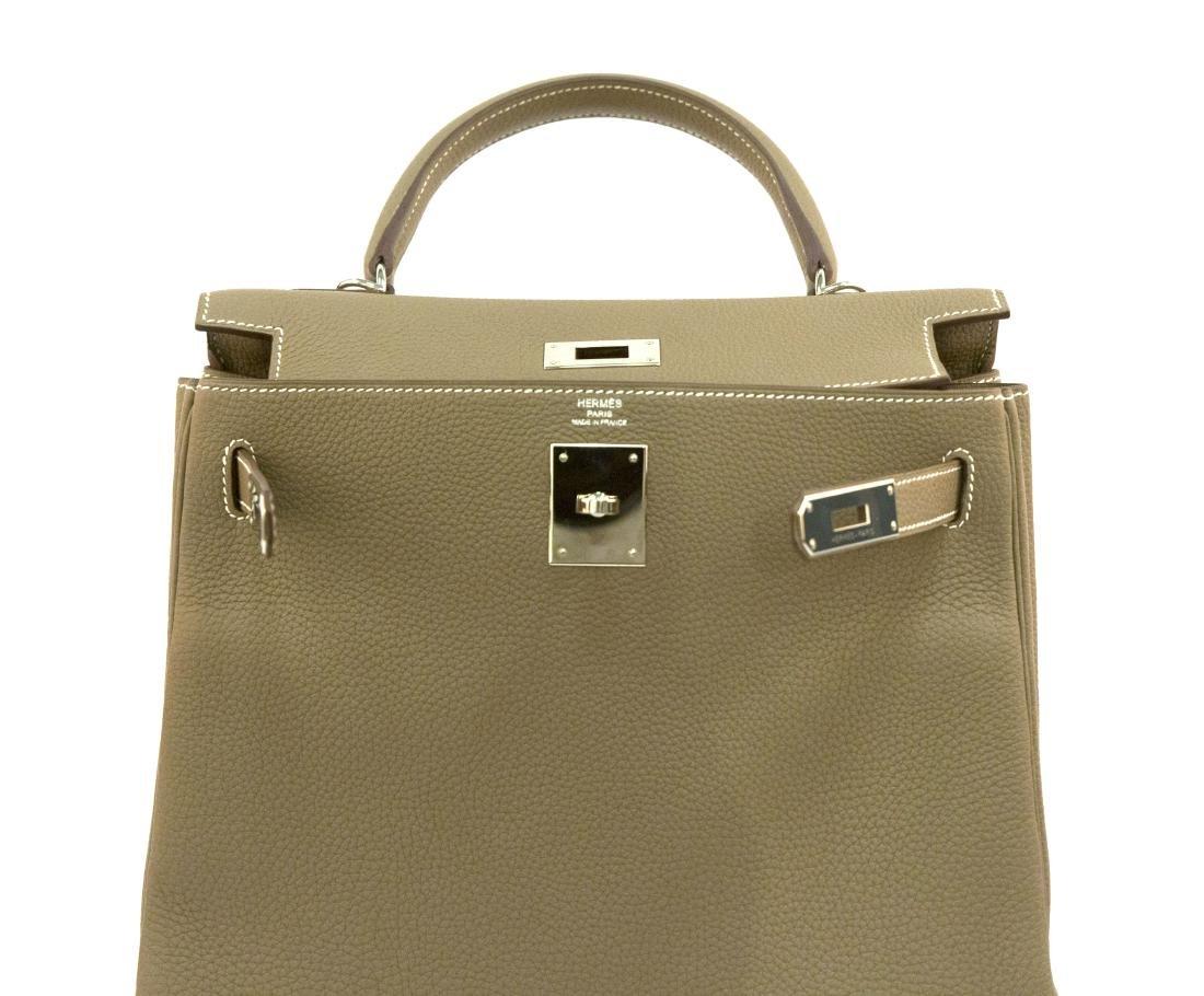 Hermes Kelly bag 28 Retourne Etoupe grey Clemence - 5
