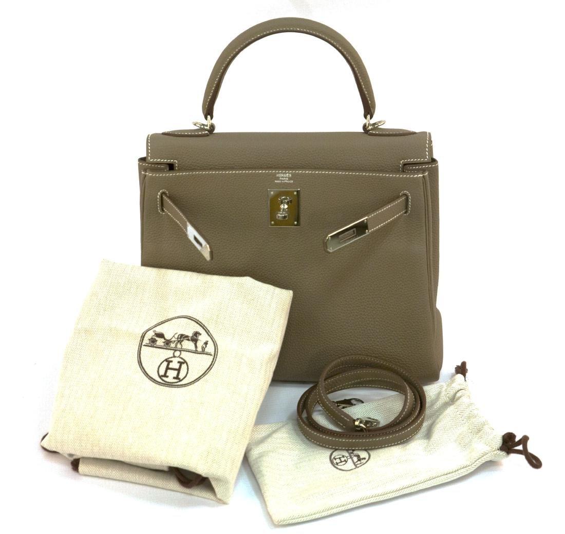 Hermes Kelly bag 28 Retourne Etoupe grey Clemence - 7