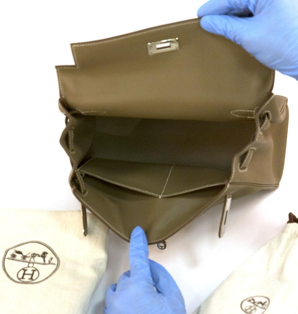 Hermes Kelly bag 28 Retourne Etoupe grey Clemence - 8