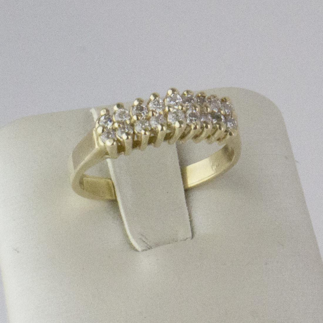 14K Yellow Gold Diamond Pyramid Design Ring