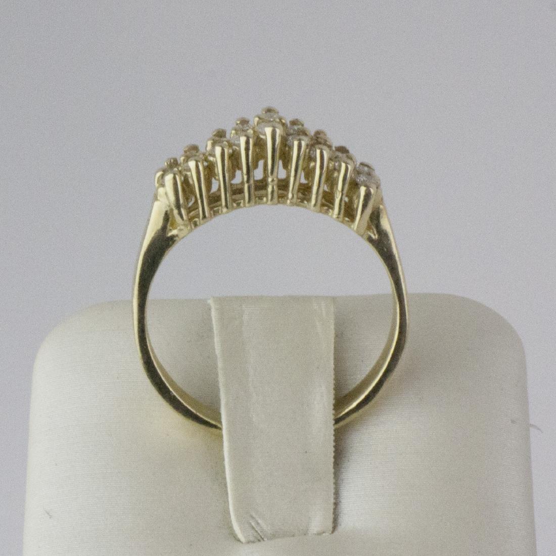 14K Yellow Gold Diamond Pyramid Design Ring - 3
