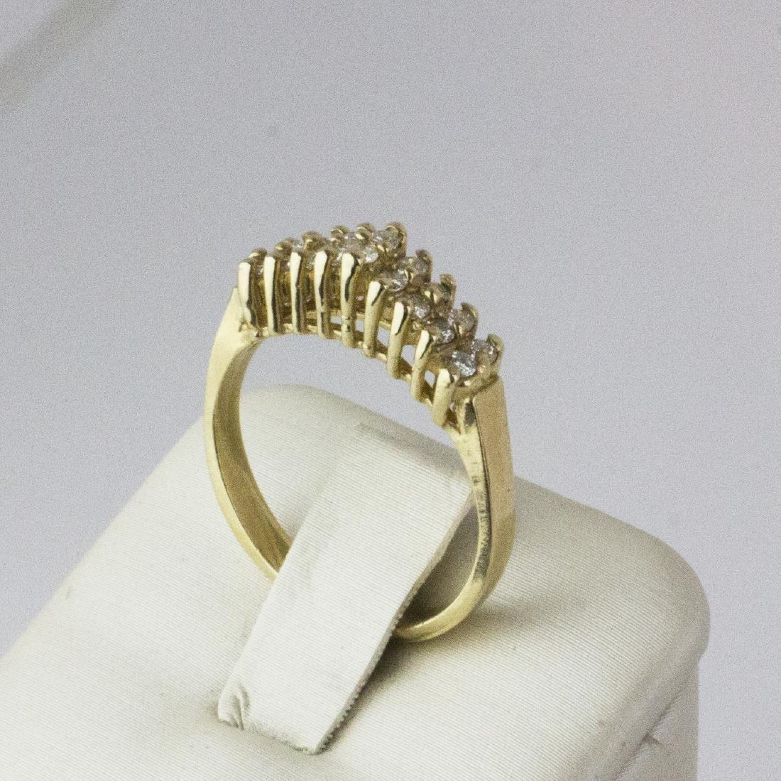 14K Yellow Gold Diamond Pyramid Design Ring - 4