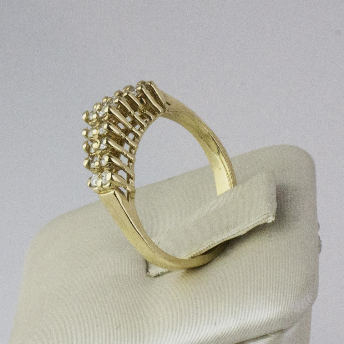 14K Yellow Gold Diamond Pyramid Design Ring - 5