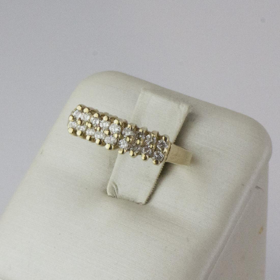14K Yellow Gold Diamond Pyramid Design Ring - 6
