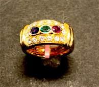 18 k yellow gold diamond sapphire emerald & ruby ring