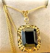 14 k yellow gold onyx & diamond pendant
