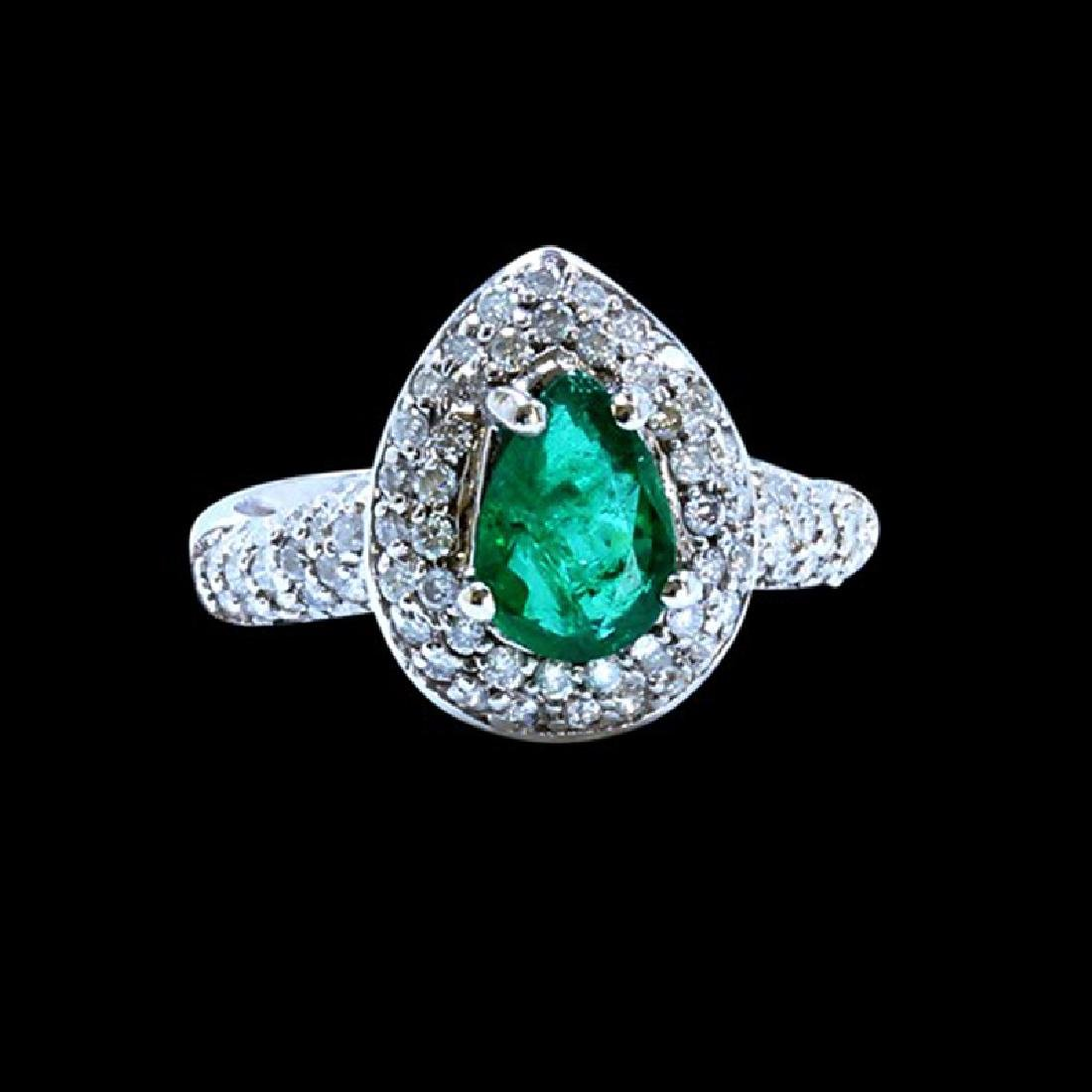 1.10CT NATURAL COLOMBIAN EMERALD 18K WHITE GOLD RING