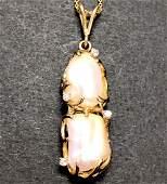14 k yellow gold diamond & pearl pendant chain