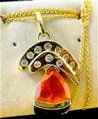 14 k yellow gold mexican opal & diamond pendant chain