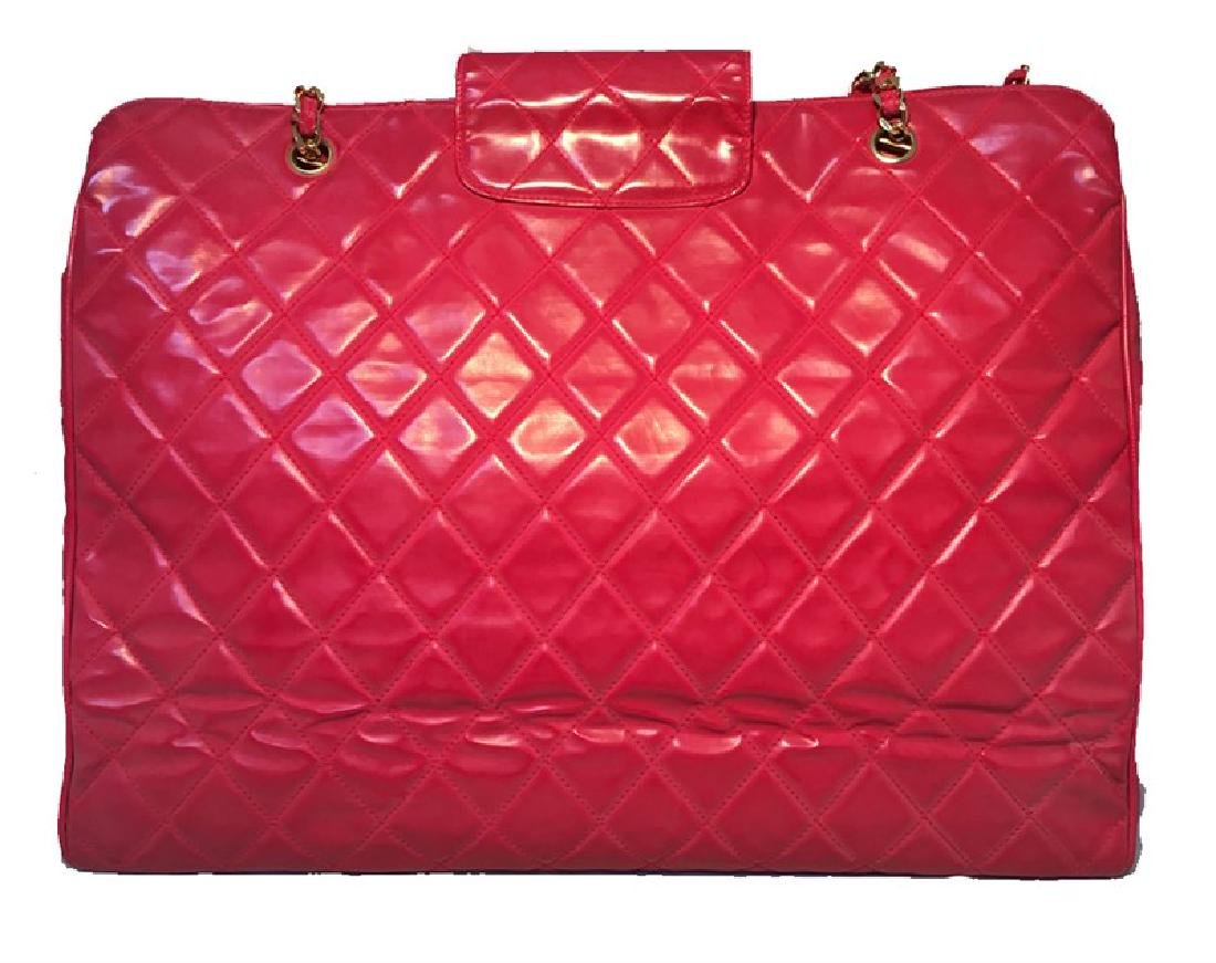 Chanel Red Quilted PVC Model Overnight Tote Travel Bag - 2