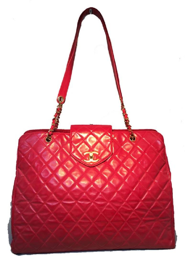 Chanel Red Quilted PVC Model Overnight Tote Travel Bag - 3