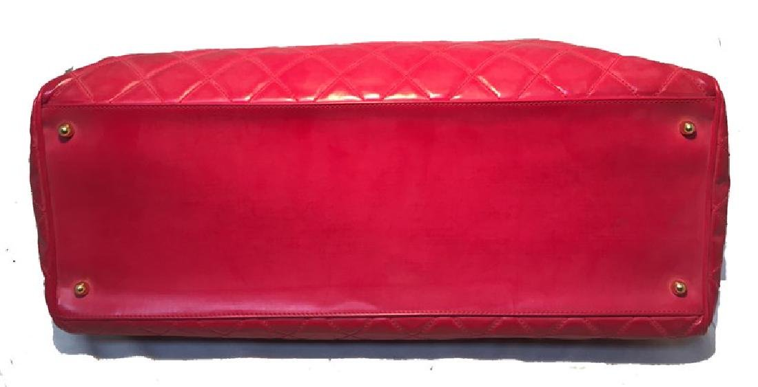 Chanel Red Quilted PVC Model Overnight Tote Travel Bag - 4