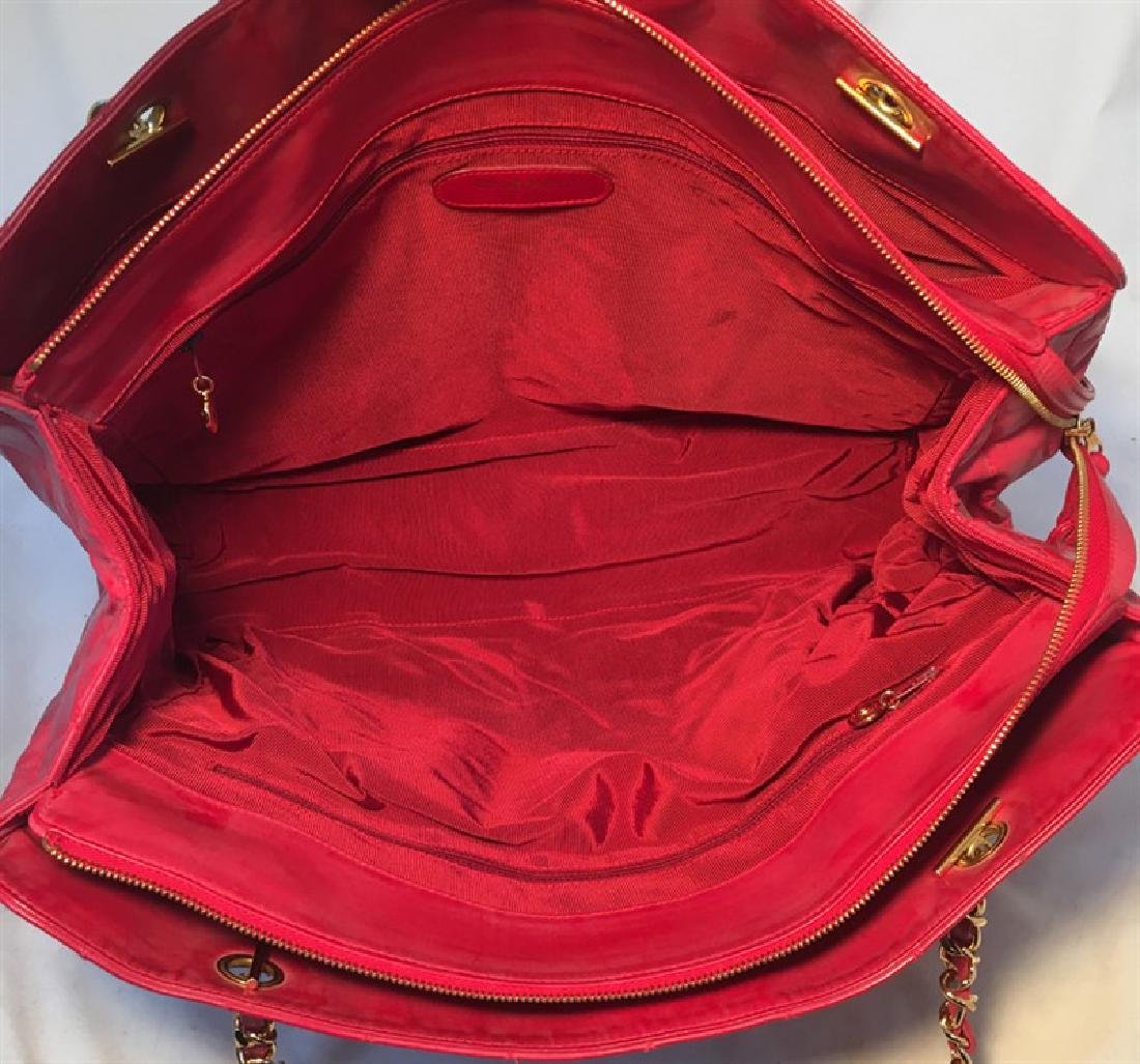 Chanel Red Quilted PVC Model Overnight Tote Travel Bag - 5