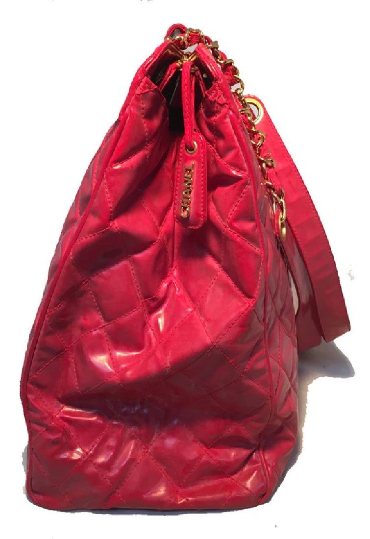 Chanel Red Quilted PVC Model Overnight Tote Travel Bag - 8