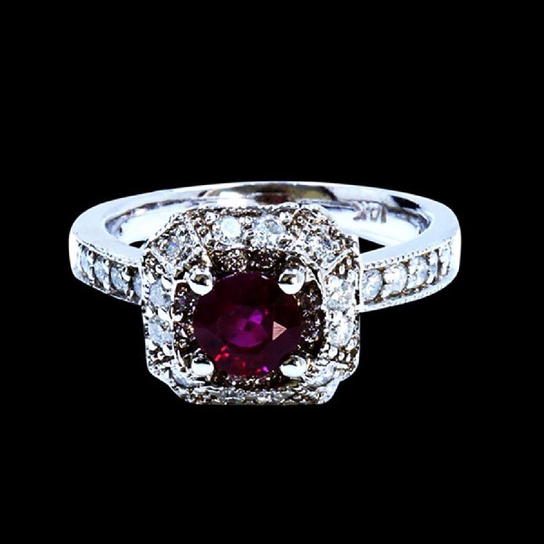 1.00CT NATURAL RUBY 14K WHITE GOLD RING