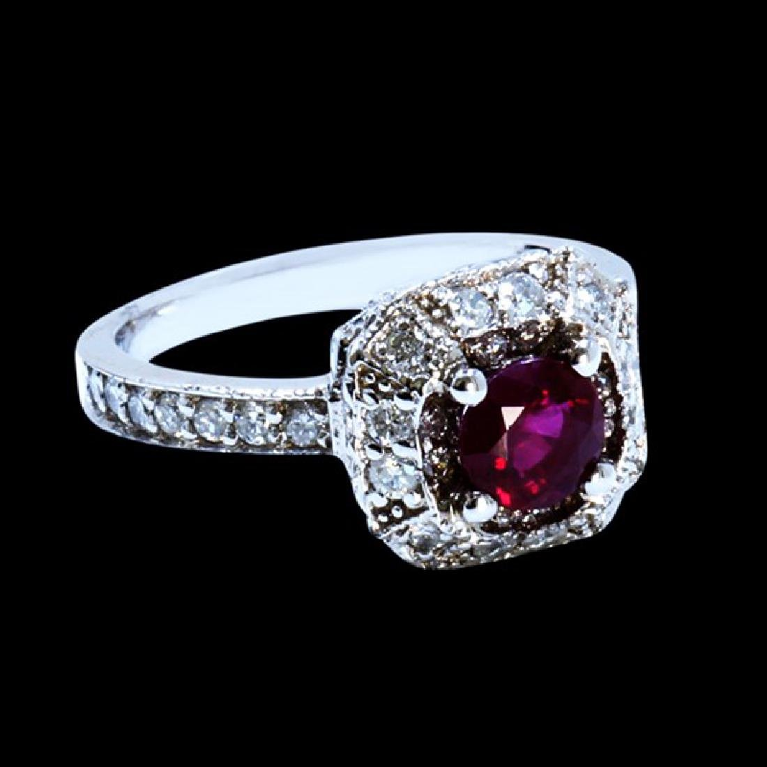 1.00CT NATURAL RUBY 14K WHITE GOLD RING - 2