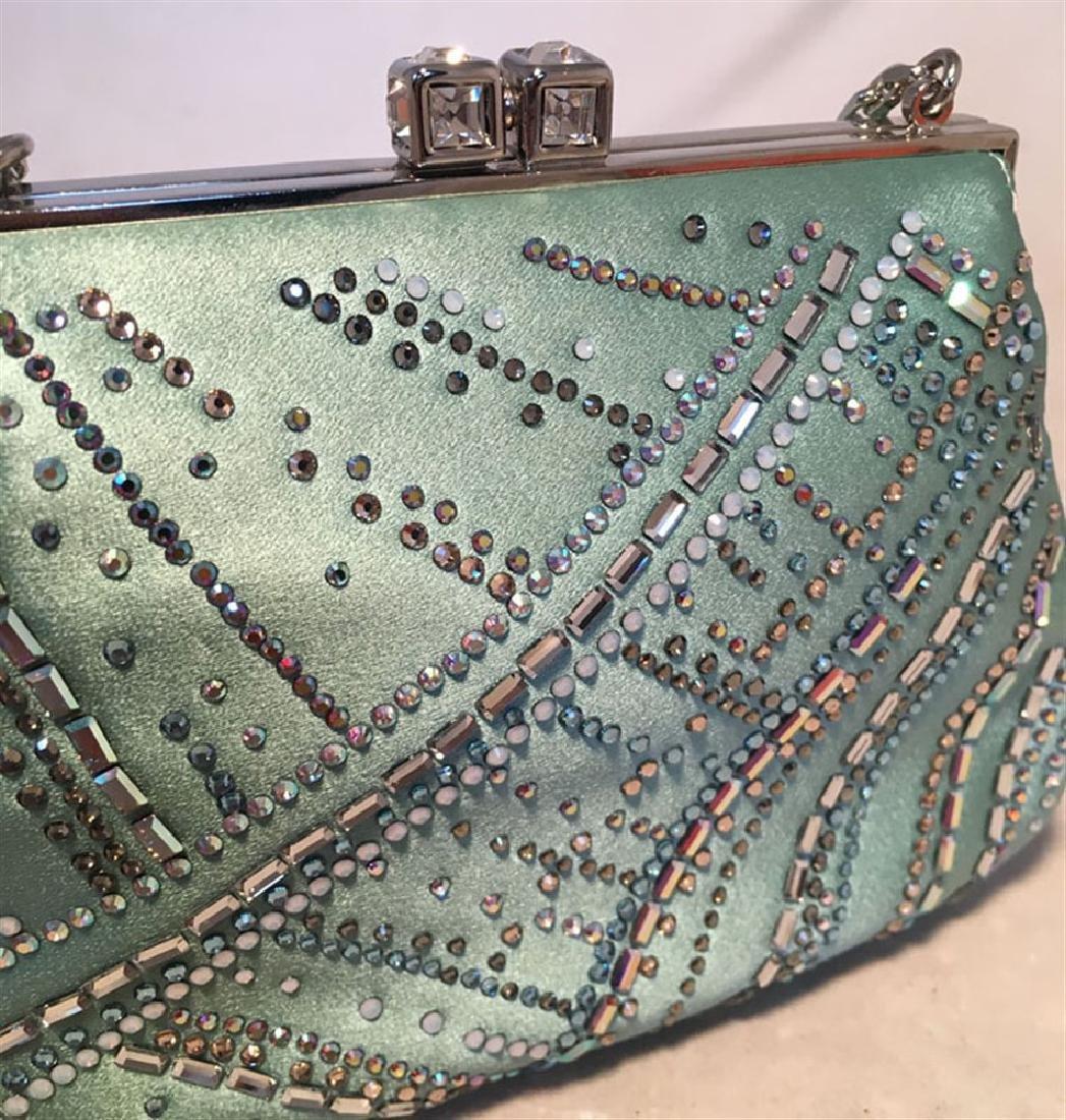 Judith Leiber Teal Silk and Swarovski Crystal Mini - 2