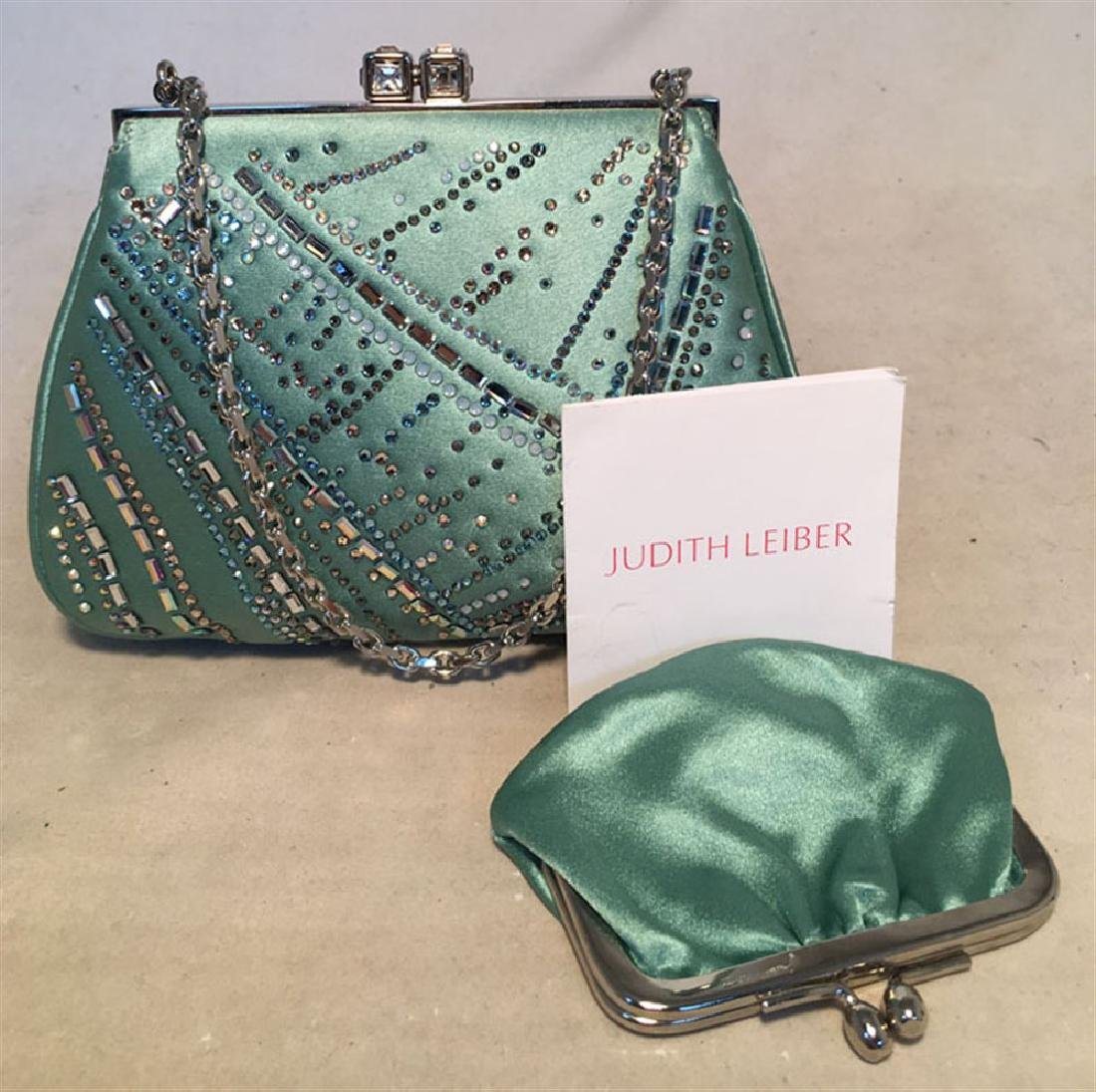 Judith Leiber Teal Silk and Swarovski Crystal Mini - 5