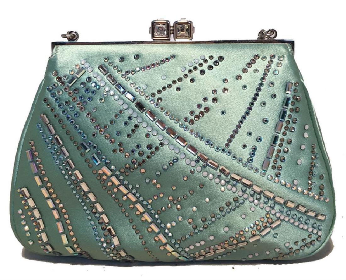 Judith Leiber Teal Silk and Swarovski Crystal Mini - 6