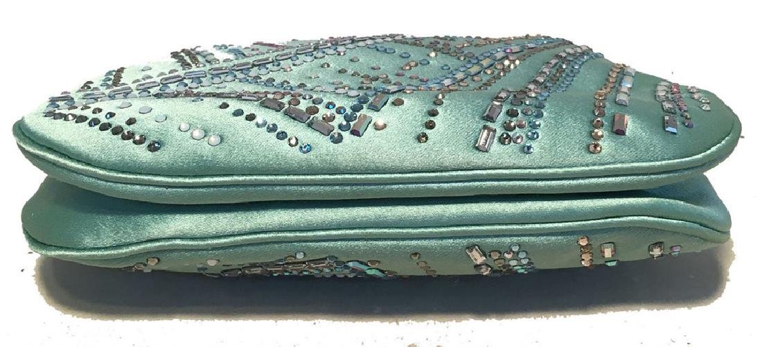 Judith Leiber Teal Silk and Swarovski Crystal Mini - 7
