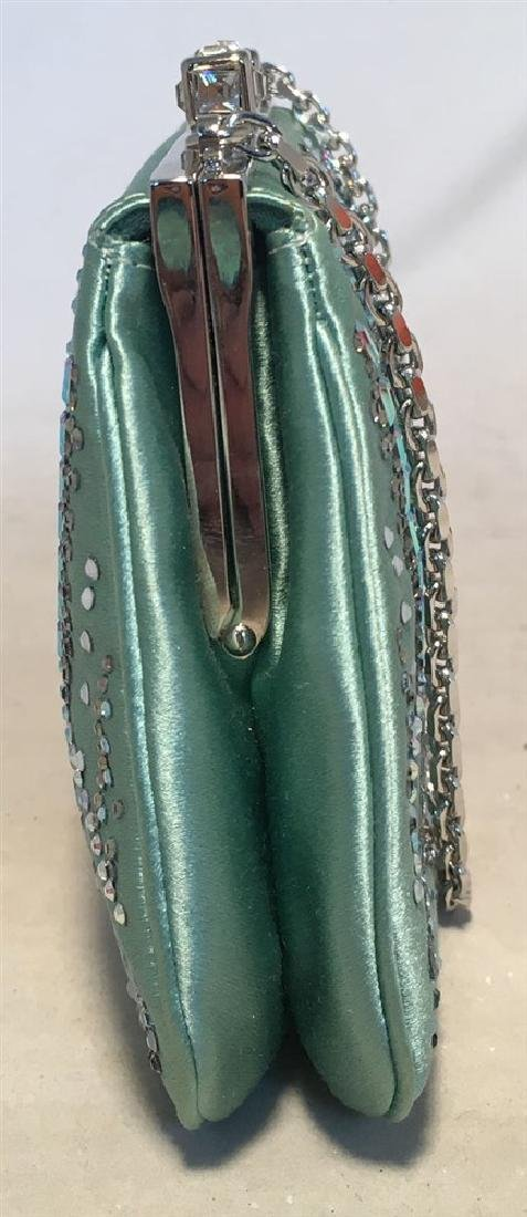 Judith Leiber Teal Silk and Swarovski Crystal Mini - 8