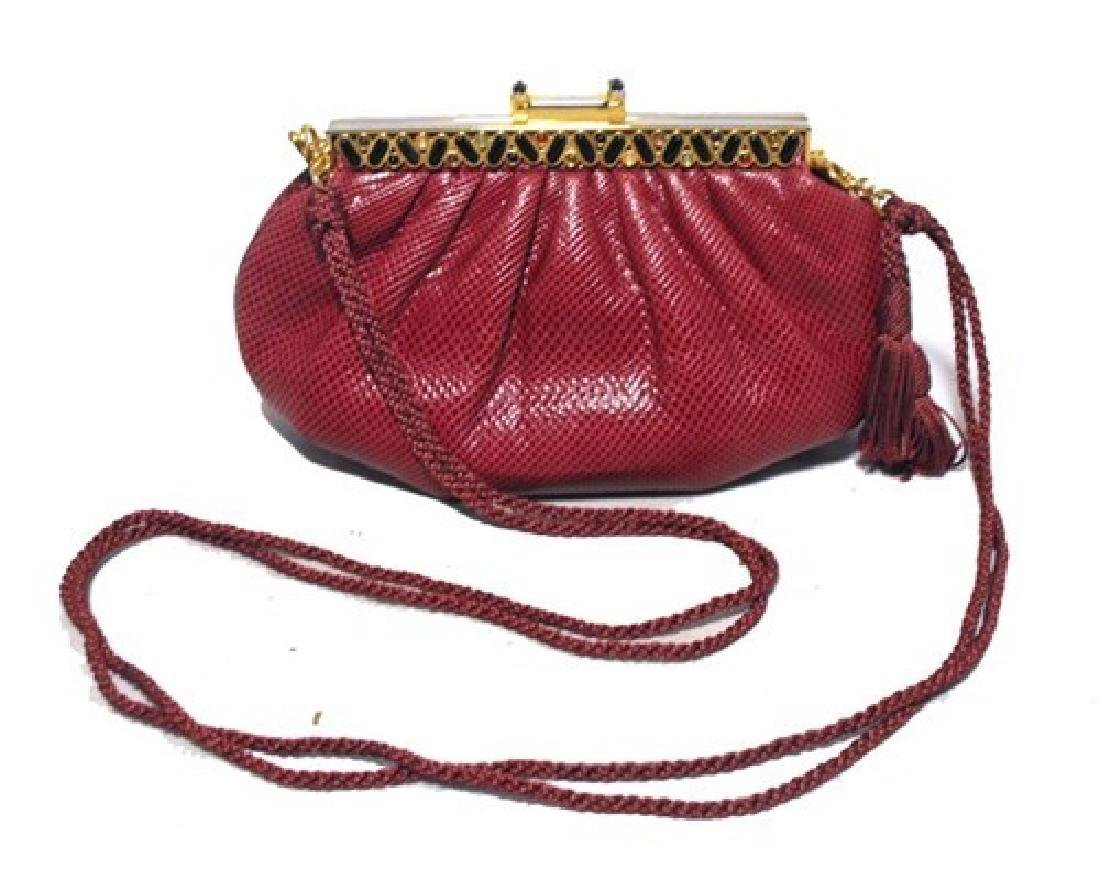 Judith Leiber Vintage Burgundy Lizard Leather Clutch
