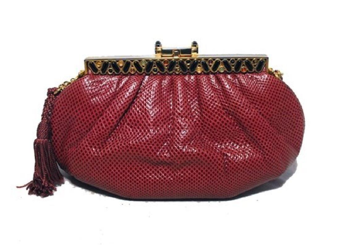 Judith Leiber Vintage Burgundy Lizard Leather Clutch - 2