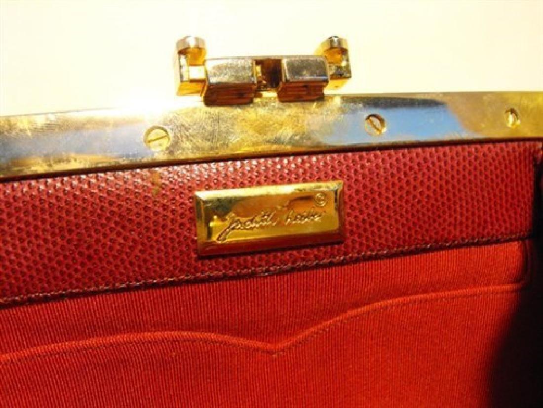 Judith Leiber Vintage Burgundy Lizard Leather Clutch - 5
