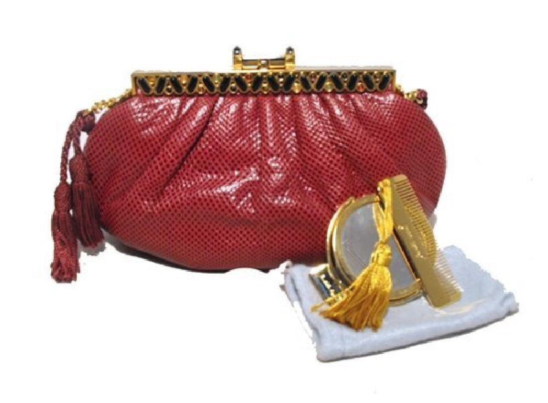 Judith Leiber Vintage Burgundy Lizard Leather Clutch - 6