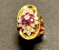 hollywood c 18k yellow gold ruby & diamond ring