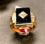 10 k yellow gold onyx & diamond ring circa 1890s