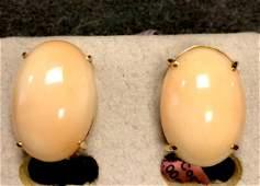 14 k yellow gold angel skin coral earrings