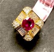 18 k yellow gold ruby & diamond ring