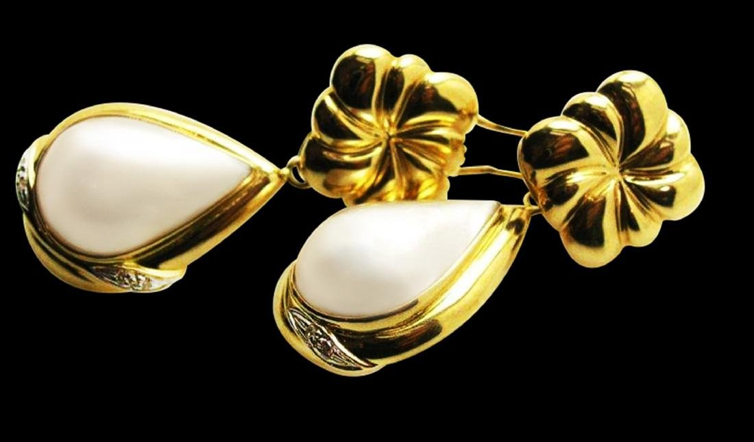 13MM NATURAL PEARL 14K YELLOW GOLD EARRING