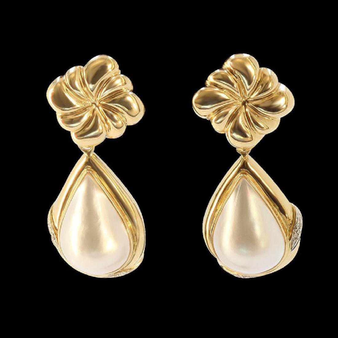 13MM NATURAL PEARL 14K YELLOW GOLD EARRING - 2