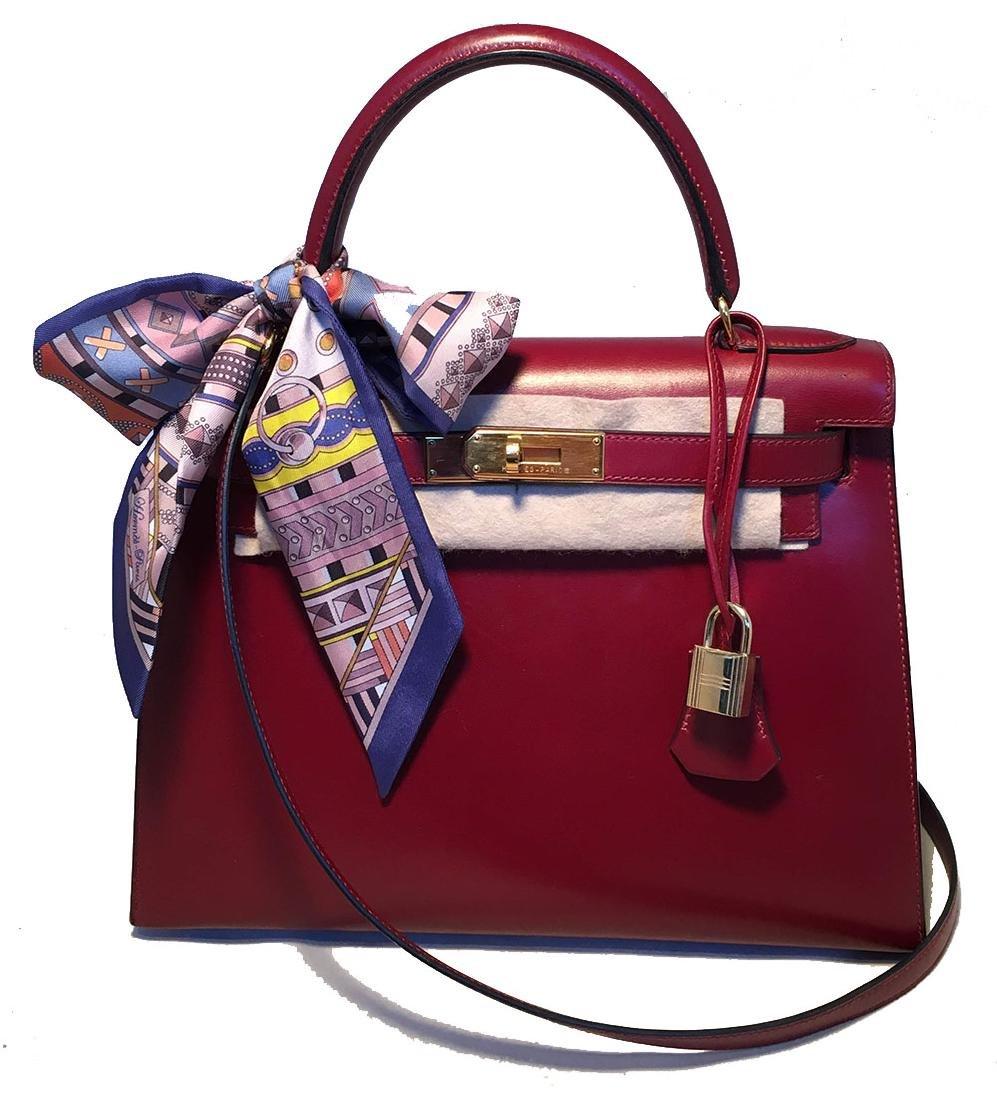 Hermes Vintage Rouge Box Calf 28cm Kelly Bag with Strap