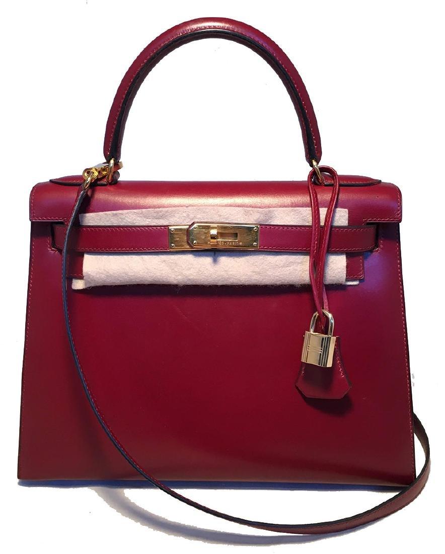 Hermes Vintage Rouge Box Calf 28cm Kelly Bag with Strap - 2